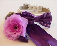 Purple wedding dog collars,2 dog collars,Floral Wedding Dog Collars and Bow Tie #LADogStoe
