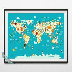 Animal World Map Print World Map Poster Animal Map by VocaPrints