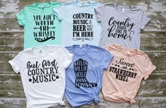 Country Music Hero Tees - Lyric Shirts - Ideas of Lyric Shirts - Country Music Hero Tees Lyric Shirts, Concert Shirts, Vinyl Shirts, Country Music Shirts, Country Music Lyrics, Country Concerts, Cute Country Outfits, Western Outfits, Country Style