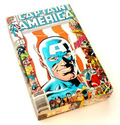 (http://www.papervsglue.com/captain-america-vintage-comics-cigar-box/)  Vintage Captain America Comic Book Collage Cigar Box
