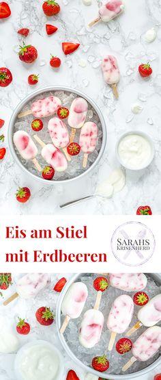 Joghurt-Erdbeer-Eis am Stiel - eine kühle Erfrischung für heiße Tage, die auch noch figurfreundlich ist =) (Werbung: in Kooperation mit Volvic)