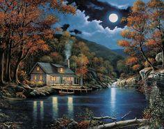 Moonlight night cabin painting