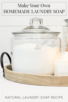 homemade laundry soap, powdered laundry soap in a large jar with scoop