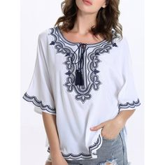 18.75$  Buy now - http://di6rx.justgood.pw/go.php?t=183889101 - Stylish Ethnic Print Bat Sleeve Scoop Neck Blouse For Women 18.75$