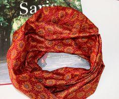 Silk infinity scarf - maroon infinity silk scarf - red and orange silk infinity scarf - silk scarf with flower motifs - gift scarf