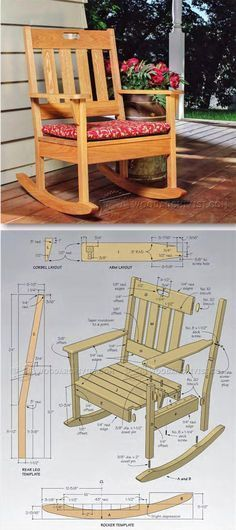 Outdoor Rocking Chair - Outdoor Furniture Plans and Projects - Woodwork, Woodworking, Woodworking Plans, Woodworking Projects Outdoor Furniture Plans, Woodworking Furniture Plans, Woodworking Projects Diy, Diy Projects, Project Ideas, Teds Woodworking, Woodworking Forum, Woodworking Classes, Woodworking Machinery