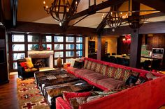 dream living room | vaulted ceilings, rustic south western, rich dark woods, xl sofa | www.dominickb.com