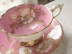 Antique pink bone china tea cup set, vintage Royal Stafford English tea set, white flowers pink and gold tea cup and saucer