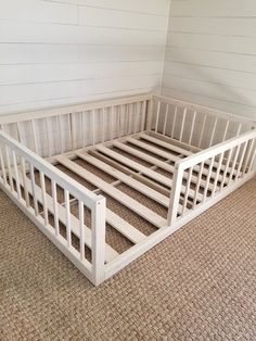 Montessori floor bed with rails full or double size floor bed hardwood made in USA INCLUDES SLATS Christmas sale - bett. Diy Toddler Bed, Toddler Rooms, Full Size Toddler Bed, Toddler Beds For Boys, Floor Bed For Toddler, Kid Floor Bed, Toddler Boy Room Ideas, Kids Beds Diy, Toddler Bed Frame