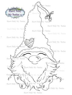 This is for the black and white line art digi stamp only.You may use the images to create and sell handmade/colored cards and projects; please give credit to *Sherri Baldy* for the image used in the p Christmas Gnome, Christmas Colors, Christmas Crafts, Colouring Pics, Coloring Books, Coloring Pages, Credit Card Images, Credit Cards, Besties