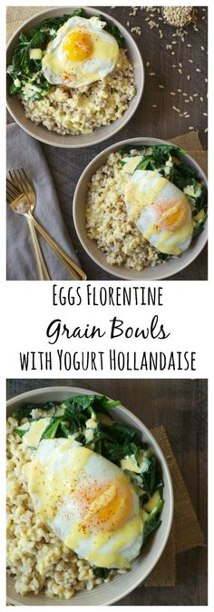 These eggs Florentine grain bowls are topped with a light and healthy yogurt hollandaise. Delicious for weekend brunch, yet simple enough for a weeknight dinner!