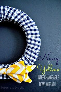 navy and yellow interchangeable wreath header
