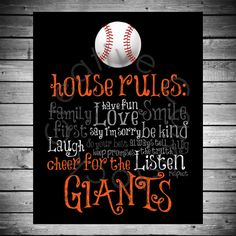San Francisco Giants House Rules 8x10 by CreativeCardstock, $10.00