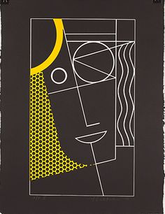 Modern Head #2, 1970 - Roy Lichtenstein - Lithograph, line cut with embossing on handmade Waterleaf paper, 24 x 18 1/4 inches (irregular)