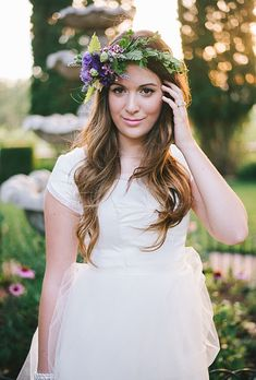 Brides: The Prettiest Wedding Hairstyles with Flower Crowns| A Purple Flower Crown Featuring Ferns | Photo by Jenna Bechtholt