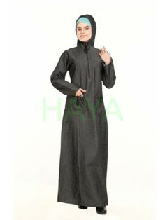Denim hooded abaya for a chic and active look. Denim Abaya, Muslim Dress, Islamic Clothing, Modest Fashion, High Neck Dress, Clothes For Women, Chic, Stylish, Abayas