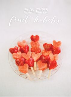 Strawberry & Watermelon Heart Kabobs! I bet even the pickiest eater won't turn these treats down!    http://www.stylemepretty.com/2013/02/10/smp-at-home-valentines-day-recipes-for-kids/    Photography By / http://whiteloftstyle.com,Design