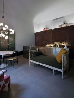 This kitchen in Milan, Italy does everything right.  Liveable, unexpected, comfortable and full of daring style.  By Dimore Studio via Remodelista