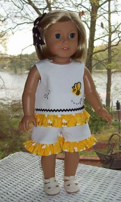 Short Set and hair clip for 18 inch dolls like by ASewSewShop