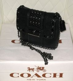 I'm auctioning '*** RARE *** COACH Black Crackled Metallic Shimmer Leather with Stud Detailing Cross Body/Clutch EUC+ ' on #tophatter