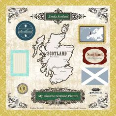 Scottish Chip Board Embellishments: 16 pieces in 12x12 card. Beautiful soft colors. two maps, scrolls, journaling block, flag. Easy punch-out. Add dimension to your pages, $4.00 from Tartan Scrapbook Supplies