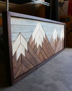 craft Home Decor / Cabin Decor / Farmhouse Decor / Mountain Art / Wood Sign – Divine Designs The His Mountain Designs, Mountain Art, Art Diy, Diy Wall Art, Reclaimed Wood Art, Small Wood Projects, Geometric Wall Art, Wooden Wall Art, Wood Wall