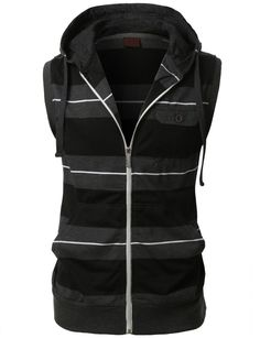 LE3NO Mens Casual Zip Up Sleeveless Striped Hoodie Vest