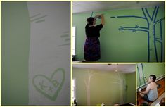 Free-hand painter's tape nursery mural: birch trees!