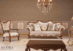 ALGEDRA Trading & Furniture has a variety of sofa furniture ranging from classic to modern style sofa set. Turkish Furniture, Classic Furniture, Sofa Furniture, Luxury Furniture, Outdoor Furniture, Blue Living Room Decor, Living Room Sofa, Wooden Sofa Set Designs, Dressing Room Decor