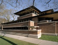 Robie House (1910 by Frank Lloyd Wright) —  Robie House is a masterpiece of the Prairie style and a precursor of modern architecture. The American Institute of Architects named Wright's Robie House as one of the 10 most significant structures of the 20th century. With its bold horizontal lines, daring cantilevers, stretches of art-glass windows and open floor plan, the building's influence on architectural modernism is undisputed. Photo courtesy of Frank Lloyd Wright Preservation Trust