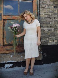 Crochet Dress/Knit Dress/Scalloped Boatneck by littleedenvintage