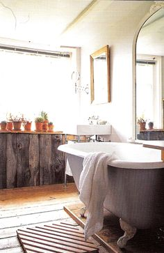 Bath with feet.  That wood panelling! Cacti.