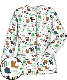 PC834HAW UA Women's Happy Pets White Print Scrub Jacket $13.99 http://www.uniformadvantage.com/pages/prod/happy-pets-scrub-jacket-js.asp