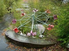 (Belgium) Dadipark's story came crashing to a rather gruesome end in the early 2000s. It's alleged that a child lost an arm on one of the rides, capping off a string of accidents and sending the park into a death spiral. By 2002, Dadipark was closed off to the public; an unloved wasteland frequented exclusively by graffiti artists.