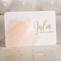 Invitation confirmation watercolor with gold foil,