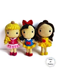 Snow White, Belle and Aurora - Disney Princesses - Amigurumi inspired by the Princesses - Disney Princess, Fairy Tale, Princess Doll Disney Princess Belle, Disney Princesses, Aurora Disney, Cat Amigurumi, Princesa Disney, Geek Gifts, Bella, Chibi, Fairy Tales