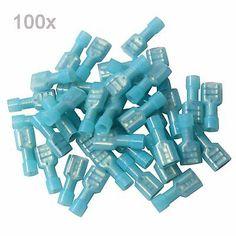 "100x 1//4/""  Blue Fully Insulate Female Electrical Spade Crimp Connector Terminal"
