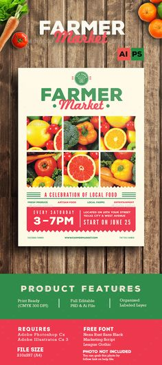 FarmerFood Market Flyer  Farmers Flyer Template And Ai Illustrator