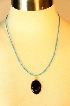Black Oval Shaped Stone Pendant with by vintagebycassandra on Etsy, $15.00