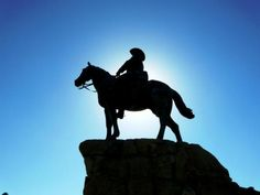 Equestrian Monument (Reiterdenkmal), a.k.a. Rider of South-West (Südwester Reiter) (1911) by Adolf Kürle, Windhoek, Namibia. Originally located between Christ Church (Christuskirche) and the Old Fortress (Alte Feste) in Windhoek. In 2013 this statue was finally removed from display. https://www.google.ca/maps/place/Alte+Feste/@-22.5693223,17.0861759,17z/data=!3m1!4b1!4m5!3m4!1s0x1c0b1b47f1f31c59:0x8c5baf095e5e04d7!8m2!3d-22.5693273!4d17.0883646