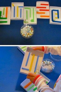 DIY Marble Maze. Fine Motor Fun. Hot glue colorful straws (cut different sizes) to small gift boxes….love!