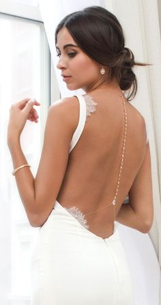 Style your Katie May low-back bridal dress with our gold body jewelry