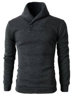 Mens Knited Slim Fit Pullover Sweater Shawl Collar With One Button Point Mens Turtleneck, Men Sweater, Adventure Time Hoodie, Best Pants For Men, Marriage Dress For Men, Moda Men, Look Cool, Cardigans For Women, Pullover Sweaters