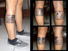 Polynesian Leg Band by camsy. I like the uniformity of the edges on this leg cuff tattoo.