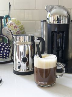 I set up a new little coffee station in my kitchen. I love it! Come see and get a great deal on an espresso machine!