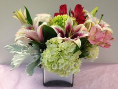 Hydrangea, Astromeria, Roses, Star Fighter Lilies, Dusty Miller in Silver Cube