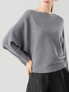 Slash Neck Casual Batwing Sweater
