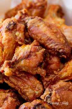 These crispy baked chicken wings are extra crispy on the outside and very juicy inside. They taste like deep-fried wings, only without a mess and added calories. Crispy Baked Chicken Wings, Fried Chicken Recipes, Boneless Chicken Wings, Tasty Dishes, Appetizer Recipes, Appetizers, Carne, Smoothies, Brunch