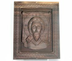 Religious gift Our Lord Jesus religious icon Wood carving, black walnut wood , home decor Religious Icons, Wood Carving, Lion Sculpture, Lord, Statue, Handmade Gifts, Painting, Etsy, Vintage