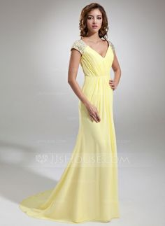 Evening Dresses - $136.99 - A-Line/Princess V-neck Sweep Train Chiffon Evening Dress With Ruffle Beading (017020987) http://jjshouse.com/A-Line-Princess-V-Neck-Sweep-Train-Chiffon-Evening-Dress-With-Ruffle-Beading-017020987-g20987?ver=0wdkv5eh